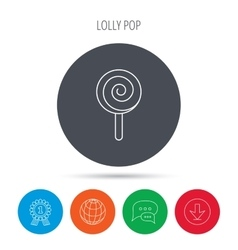Lollipop icon Lolly pop candy sign vector image