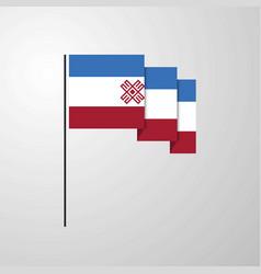 Mari-el waving flag creative background vector