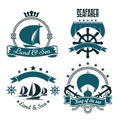 Marine sport yacht club design with sailing ships vector
