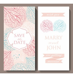 Marriage invitation card with flowerbackground vector image