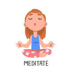 Meditate word verb expressing action vector