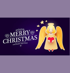 merry christmas cute background with angel and vector image