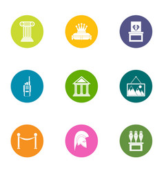 museum exhibition icons set flat style vector image