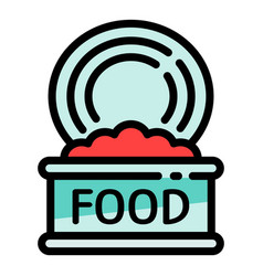 Open food tin can icon outline style vector
