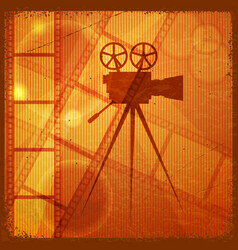 orange background with the silhouette of movie vector image