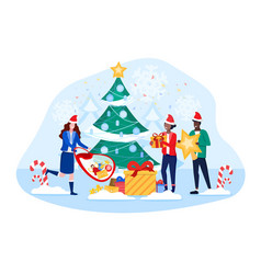 Pedestrians rushing with gifts at christmas vector