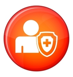 Person and medical cross protection shield icon vector
