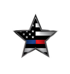 police and firefighter support star badge emblem vector image