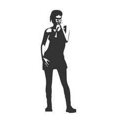 posing lady silhouette vector image