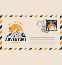 Postal envelope on theme travel with stamp vector