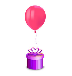 realistic air flying pink balloon with reflects vector image