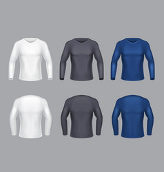 realistic set of male long sleeve shirts vector image