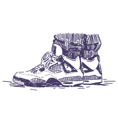 Retro sport sneakers hand drawn vector