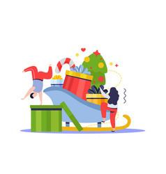 santa sledge gifts composition vector image