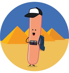 sausage traveler in egypt vector image