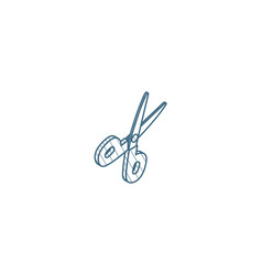 scissors cut isometric icon 3d line art technical vector image