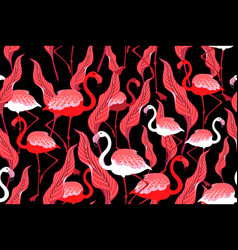 seamless autumn pattern with flamingos and leaves vector image
