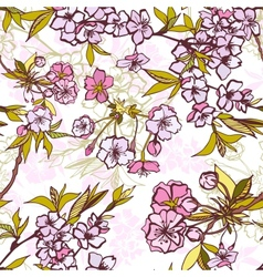 Seamless background pattern with blossoming sakura vector