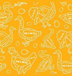 seamless pattern in thin line style for poultry vector image