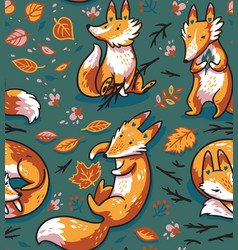 seamless pattern with cute foxes in autumn leaves vector image