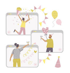 self-isolation online birthday party remote vector image
