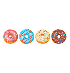 Set glaze donuts and sprinkles vector
