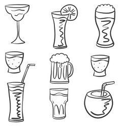 Set of drink hand draw doodles vector
