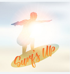 silhouette a surfer on a defocussed summer vector image