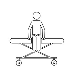 silhouette pictogram patient sit in stretcher vector image