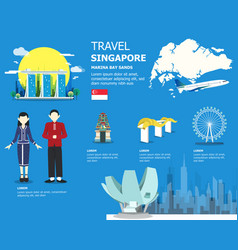 Singapore map with outstanding places vector