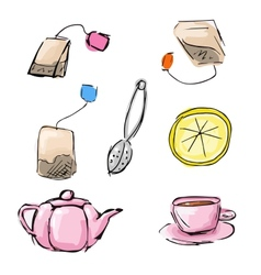 Sketch of tea icons vector
