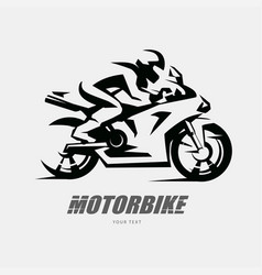 speed bike racer on sport motorcycle stylized vector image