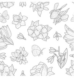spring flowers seamless pattern wild meadow vector image