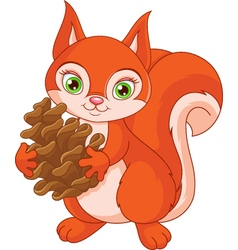 Squirrel with a pine cone vector image