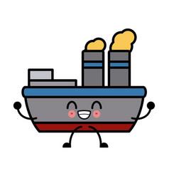 Steam boat ship kawaii cartoon vector