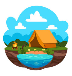 summer camp concept with green vector image
