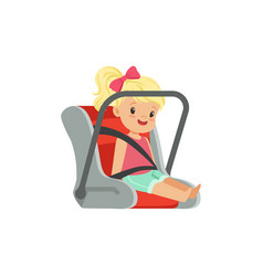 Sweet little girl sitting in car seat safety car vector