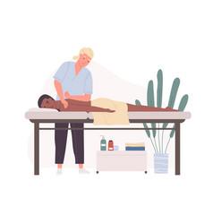Therapist practicing deep tissue massage or vector