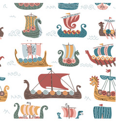 vikings seamless pattern with drakkar ships vector image