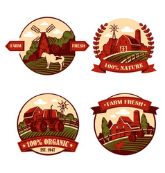 Village icons with cow and mill barn in field vector