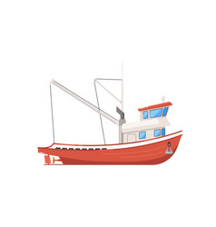 Vintage fishing boat isolated on white icon vector