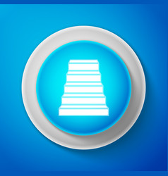 white staircase icon isolated on blue background vector image
