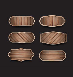 wood sign boards label collection design vector image