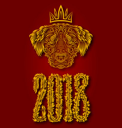yellow dog is chinese symbol of new year 2018 vector image