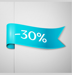 cyan ribbon with text thirty percent for discount vector image