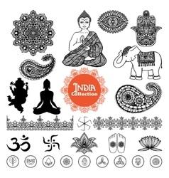 Hand Drawn India Design Elements Set vector image vector image