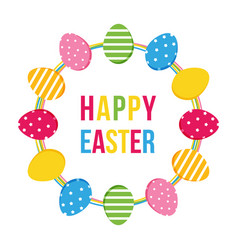 happy easter card with eggs round frame vector image
