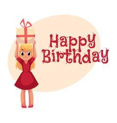 little girl in red dress holding birthday gift vector image vector image