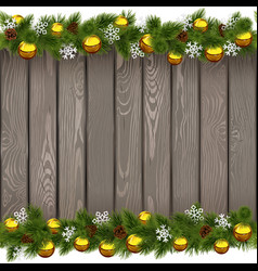 Seamless Christmas Old Board with Golden Balls vector image vector image