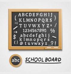 chalkboard with a set of sketch symbols english vector image